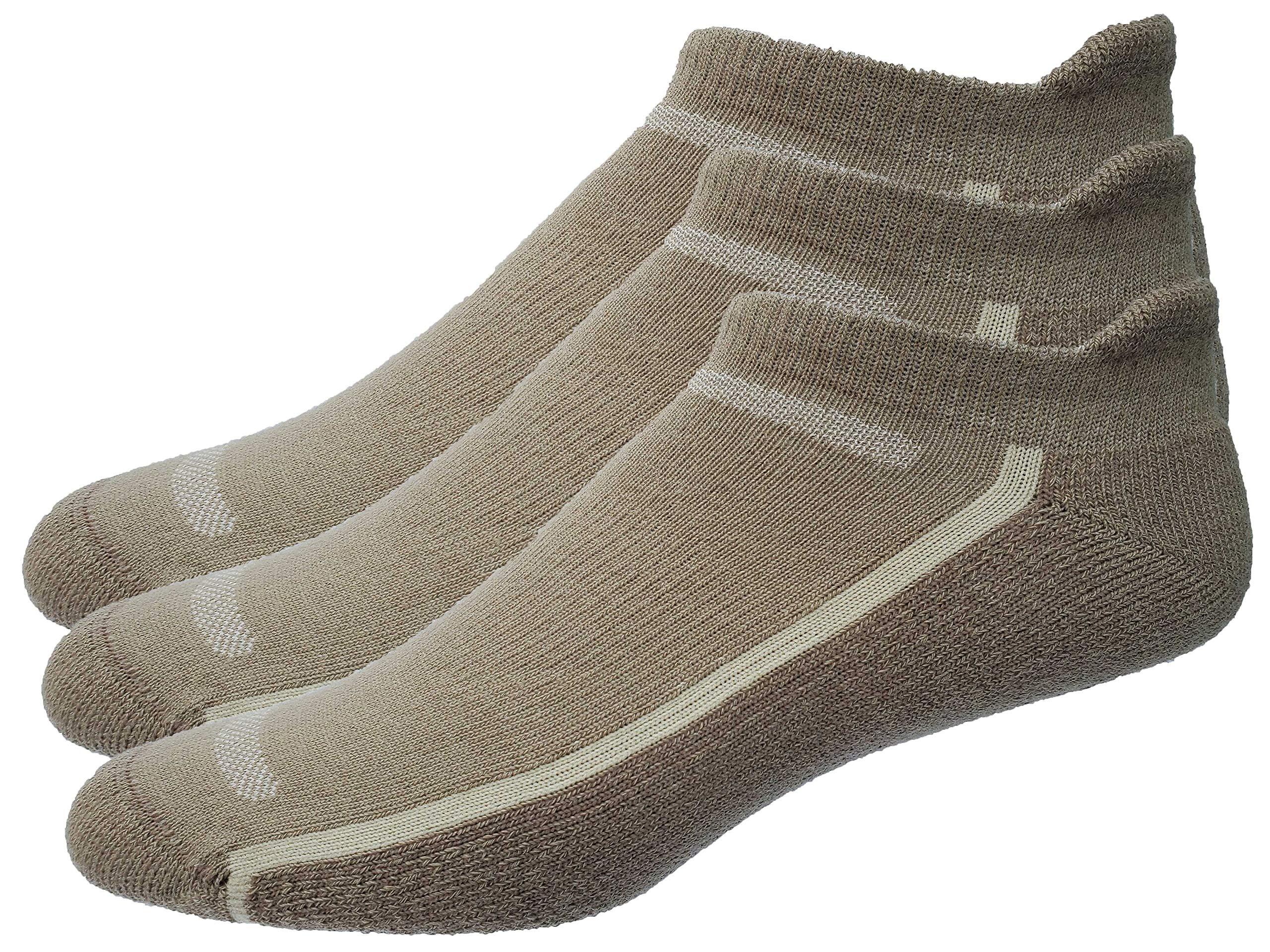 Mens 3-Pack No Show Tab Golf Socks (Large, Khaki) by High Falls Footwear