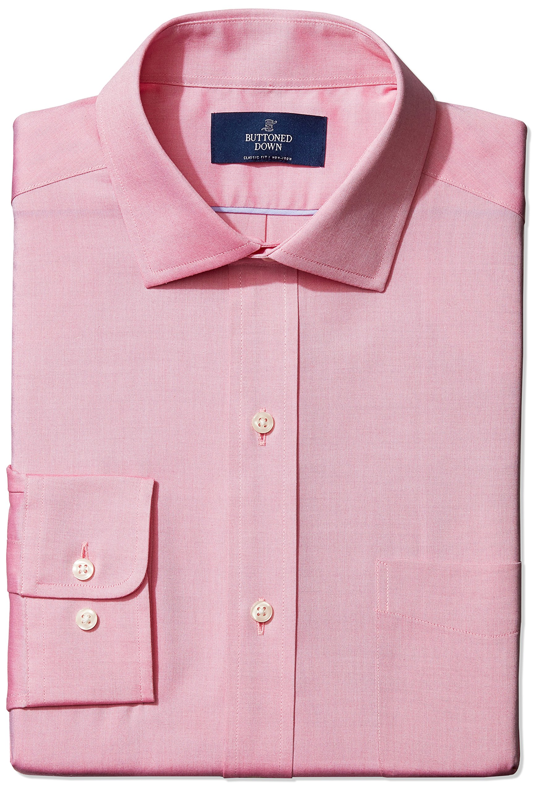 Buttoned Down Men's Classic Fit Spread-Collar Non-Iron Dress Shirt (Pocket), Pink, 16 33