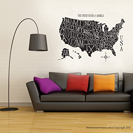 Amazon.com: USA Map Wall Decal Stickers Modern Easy Stickers Vinyl ...