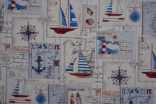 PRESTIGE TELAS Náutico rojo y azul Costa botes algodón de la impresión tela para tapizar Cortina/Cojines - POR METRO: Amazon.es: Hogar