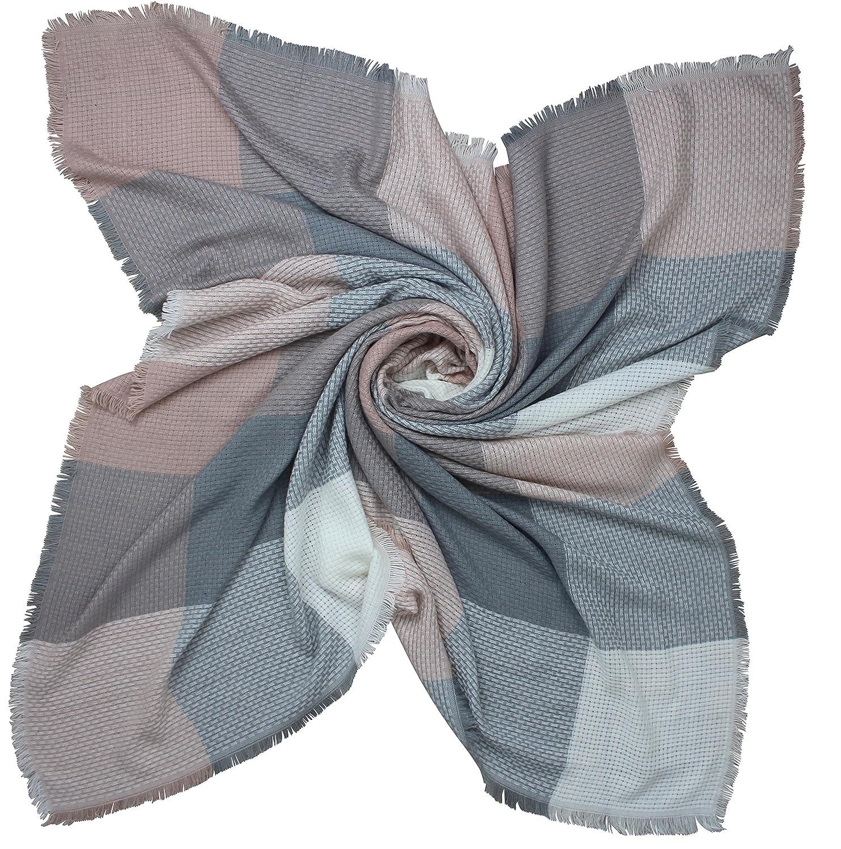 b23db38bb6b PiriModa Echarpe d hiver XXL - de Tableaux - Double écharpe Gris Rose crème   Amazon.fr  Vêtements et accessoires