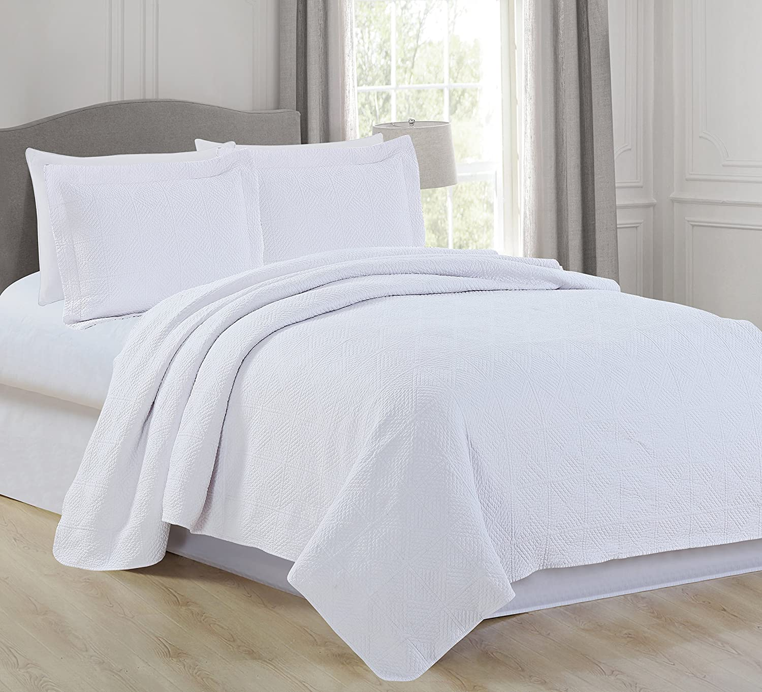 Home Fashion Designs Vanessa Collection Quilt Set, King, White