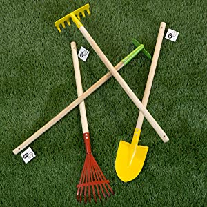 Hey! Play! Kid's Garden Tool Set with Child Safe Shovel, Rake, Hoe and Leaf Rake– 4 Piece Gardening Kit with Long Wood Handles for Boys and Girls