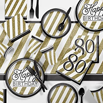 Black and Gold 80th Birthday Lunch Napkins 80 Birthday Party Decoration