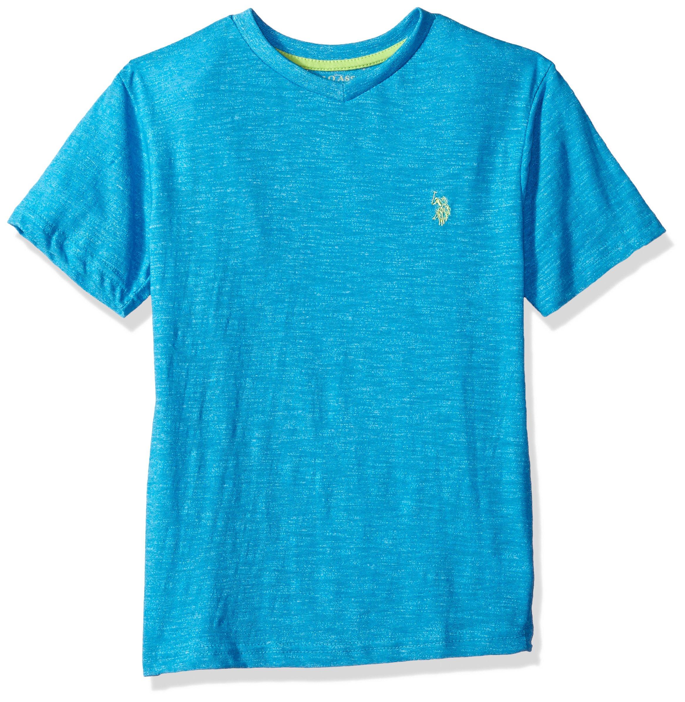 U.S. Polo Assn. Boys' Big Short Sleeve Solid V-Neck T-Shirt Marbled Marled Blue, 14/16