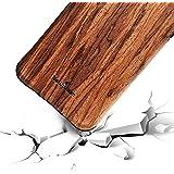 NeWisdom iPhone 8 Wood Case iPhone 7 Case Wooden Unique Shock Proof Hybrid Rubberized Cover [Wood over Rubber] Soft Real Wood Cover for Apple iPhone8 iPhone7 – Sandalwood