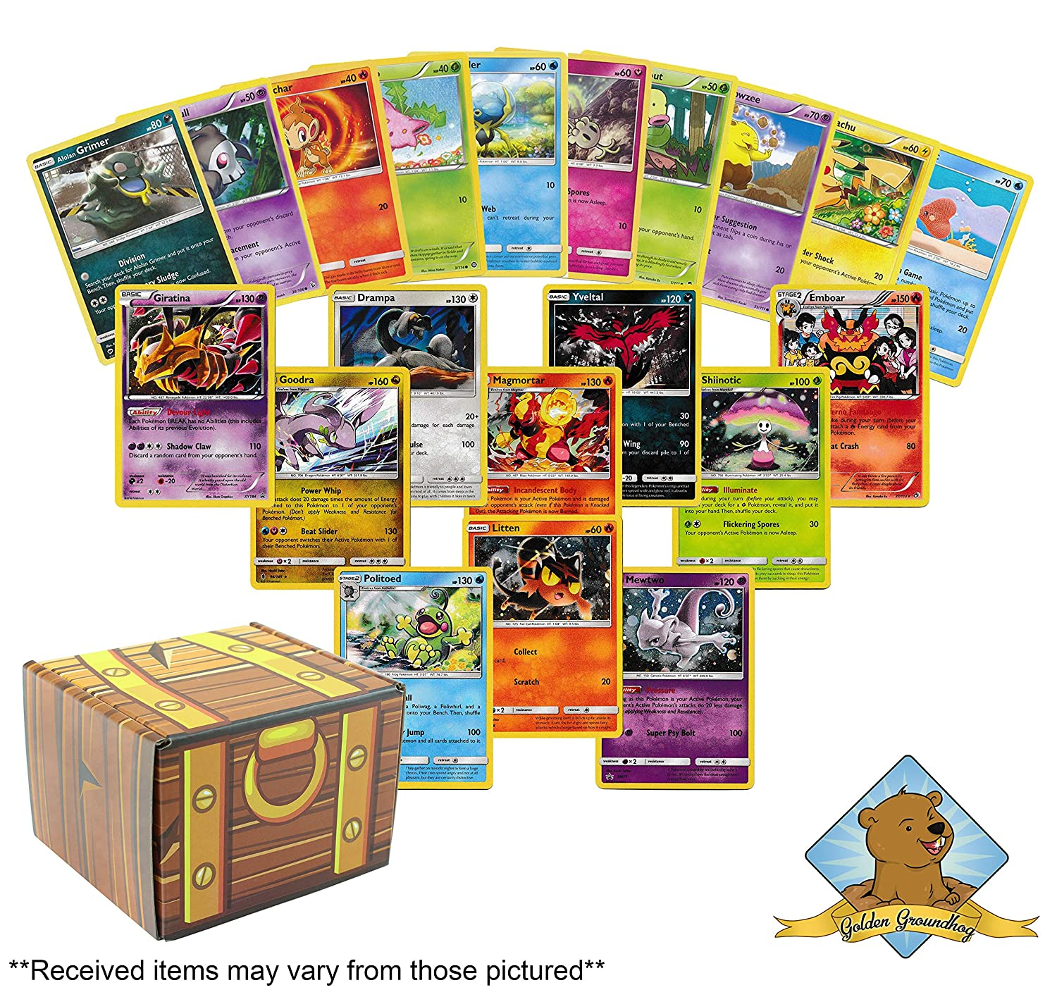 100 Assorted Pokemon Cards Featuring 10 Promo Cards Includes Golden Groundhog Treasure Chest Storage Box!