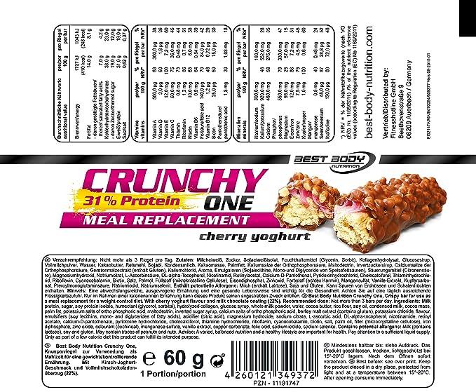 Best Body Nutrition Crunchy One Barrita de Proteína - 20 Barras ...