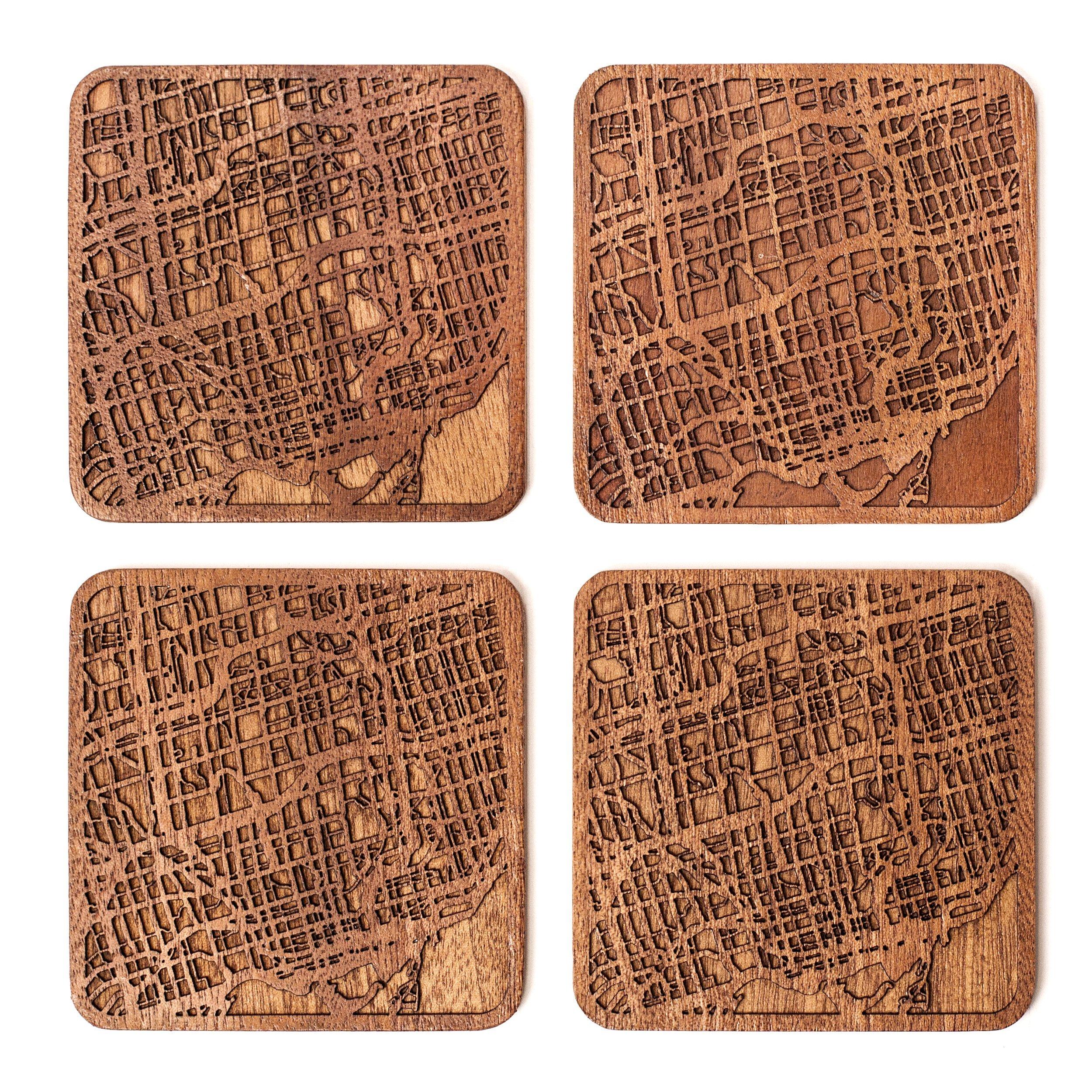 Toronto Map Coaster by O3 Design Studio, Set Of