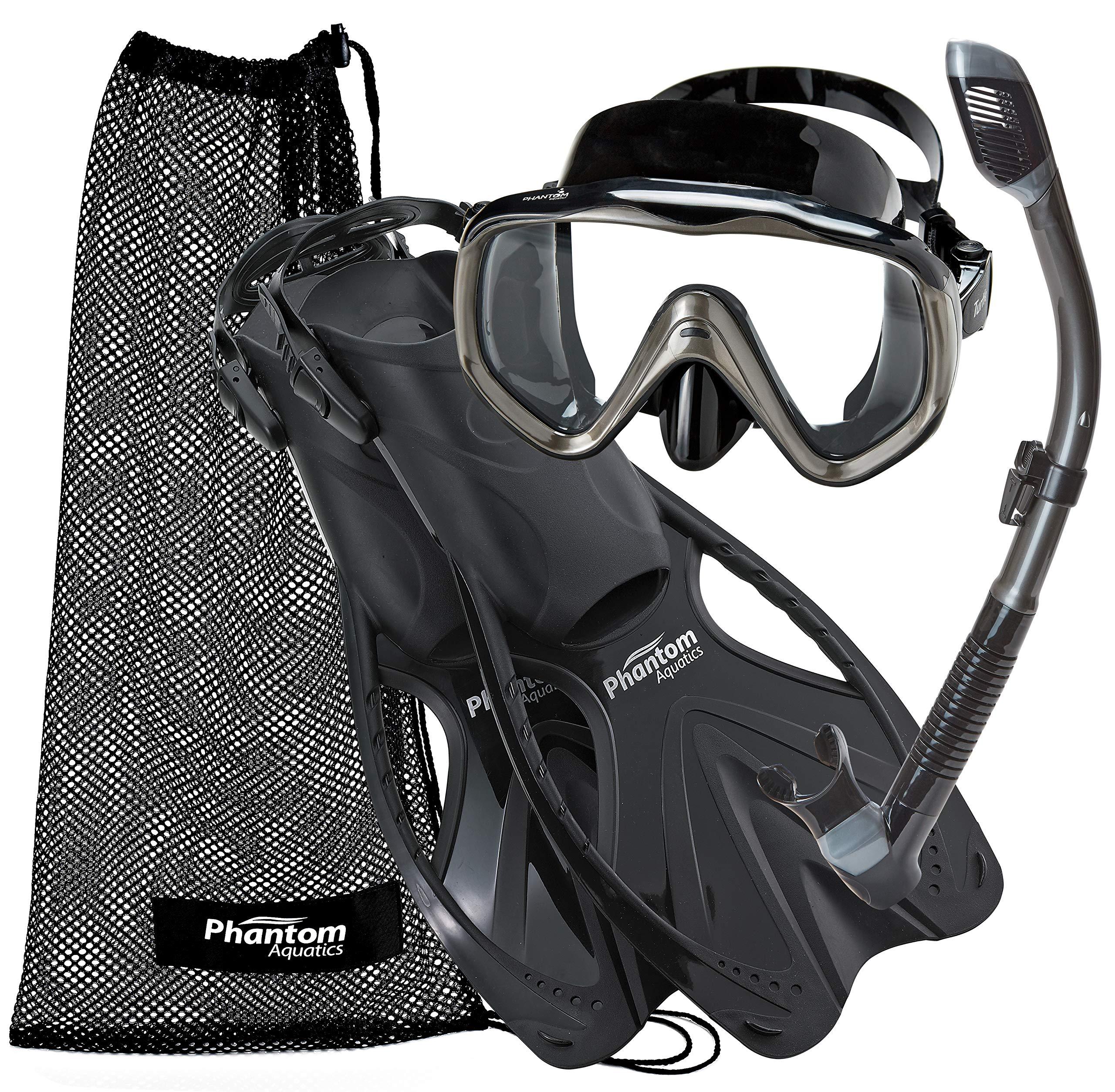 Phantom Aquatics Turtle Mask Fin Dry Snorkel Snorkeling Set (Black Titanium, S/M (6-8))