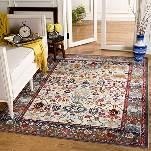 Safavieh Baldwin Collection BDN127D Ivory and Anthracite Grey Oriental Bohemian Square Area Rug 6 7 Square