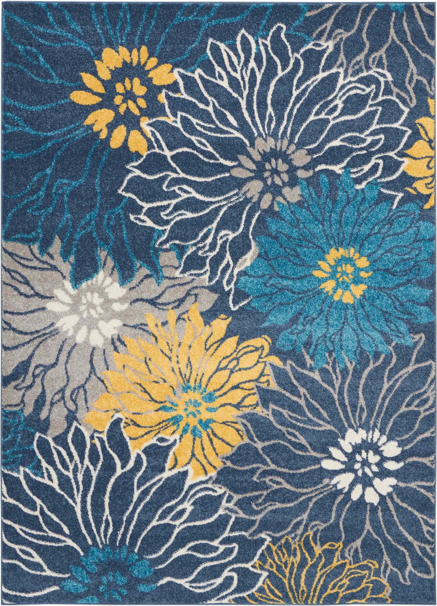 """Nourison  Passion Area Rug, 5'3"""" x7'3, BLUE - SOFT TO THE TOUCH: .5"""" pile height and polypropylene fibers are inviting underfoot STAIN RESISTANT, FADE RESISTANT:  No shedding and easy to clean MODERN, FLORAL STYLE: Colorful, bold, borderless design - living-room-soft-furnishings, living-room, area-rugs - A1GDvEy7s9L -"""