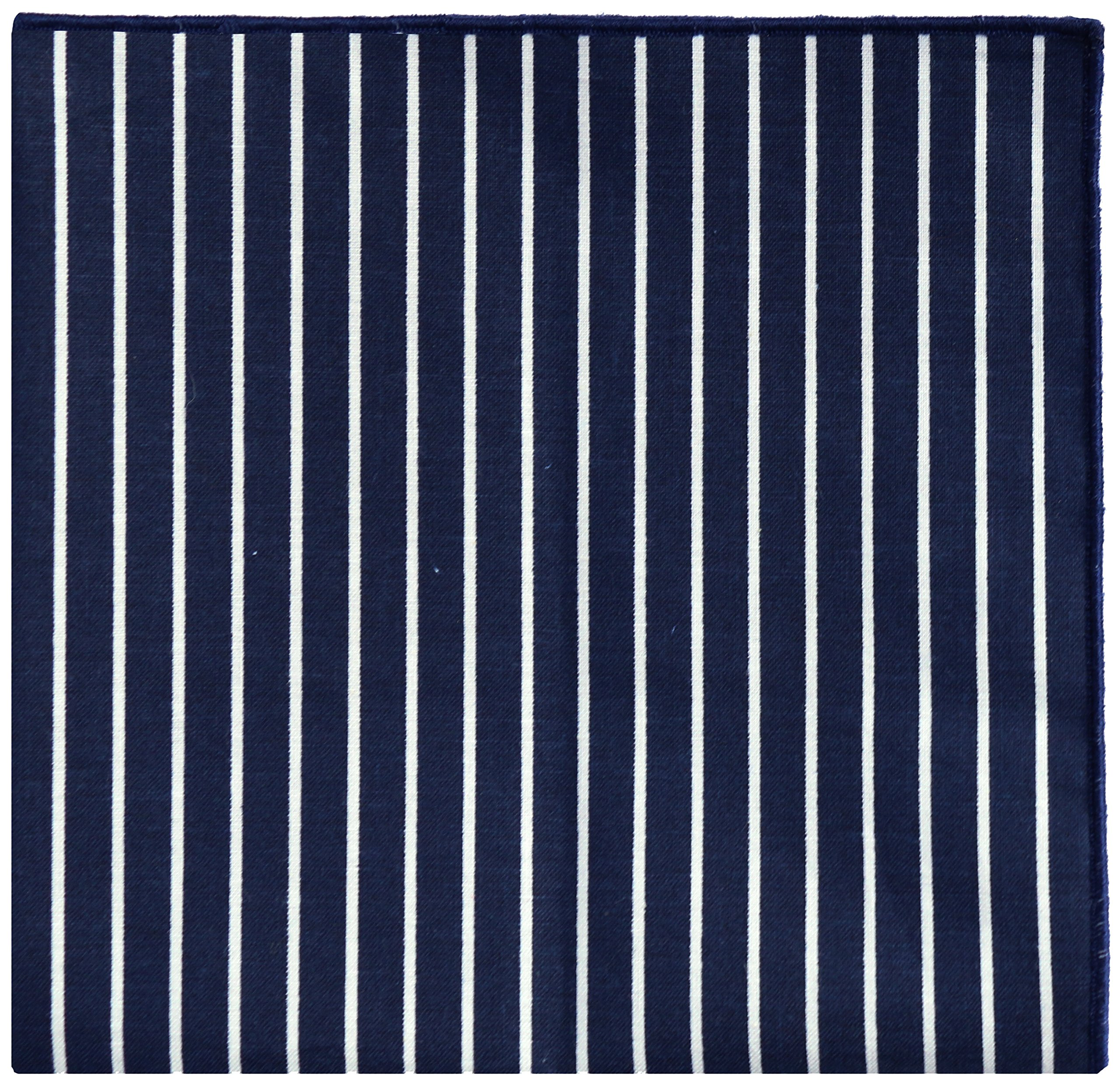 Navy Blue & White Stripe w/ Navy Button Men's Pocket Square by The Detailed Male by The Detailed Male (Image #2)