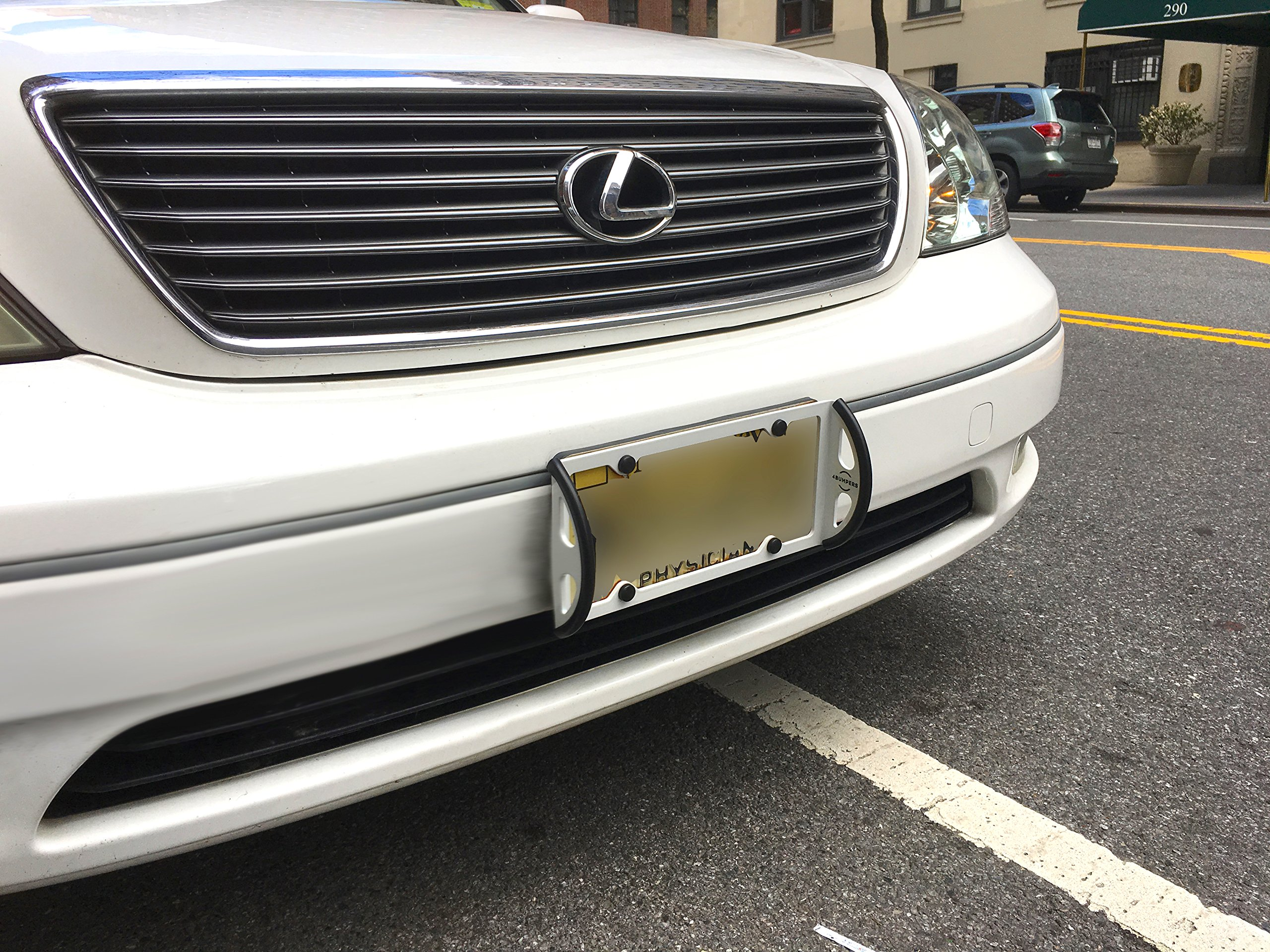 4Bumpers® Duo - The Best Solid Steel License Plate Frame Bumper Protector (Limited Edition White) by 4Bumpers® (Image #2)