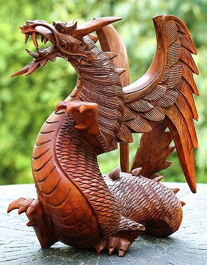 Super Amazon.com: Handmade Wooden Dragon Handcrafted Art Statue  HE56
