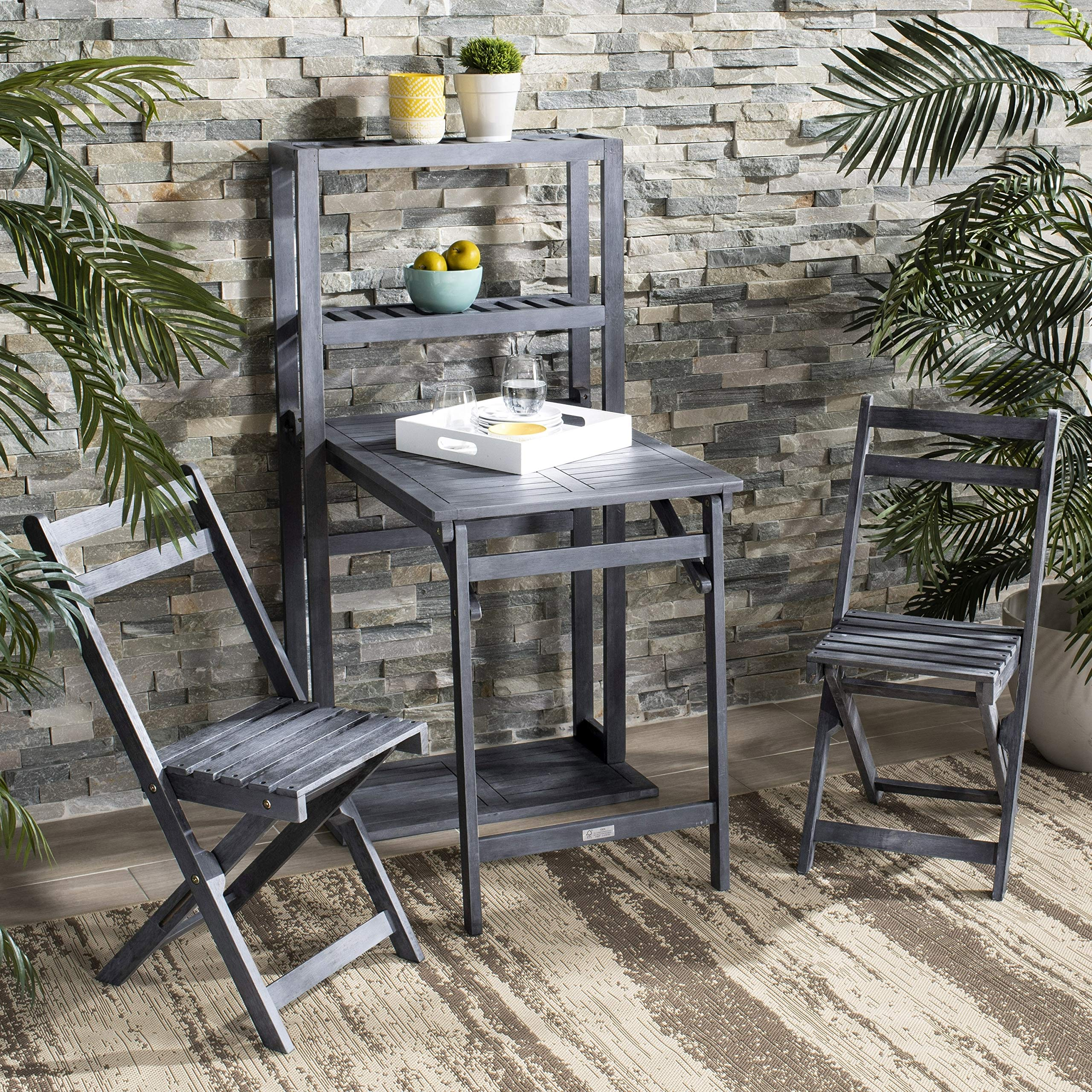 Safavieh PAT6756B Outdoor Collection Griffen Balcony Ash Grey Set Dining Cabinet