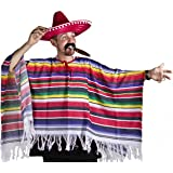 MEXICAN PONCHO, RED SOMBRERO WITH POMPOM EDGING, TASH & CIGAR DELUXE WESTERN FANCY DRESS COSTUME MENS LADIES ONE SIZE FITS SMALL - XXL