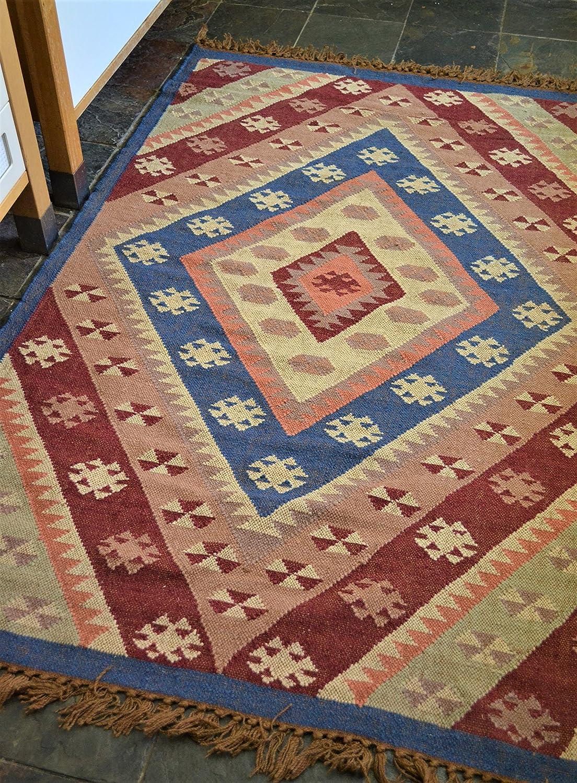 Rugsite Blau, Wein Rot und Beige Kelim handgeknotet 100% Wolle Teppich 120 x 180 cm