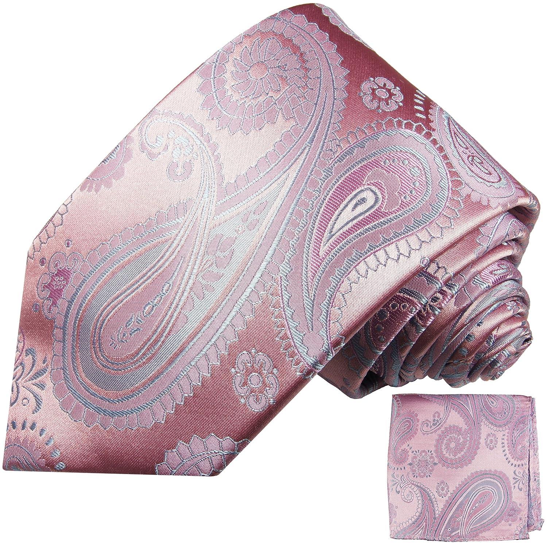 Paul Malone Krawatten Set 100% Seide pink paisley Hochzeitskrawatte mit Einstecktuch 686