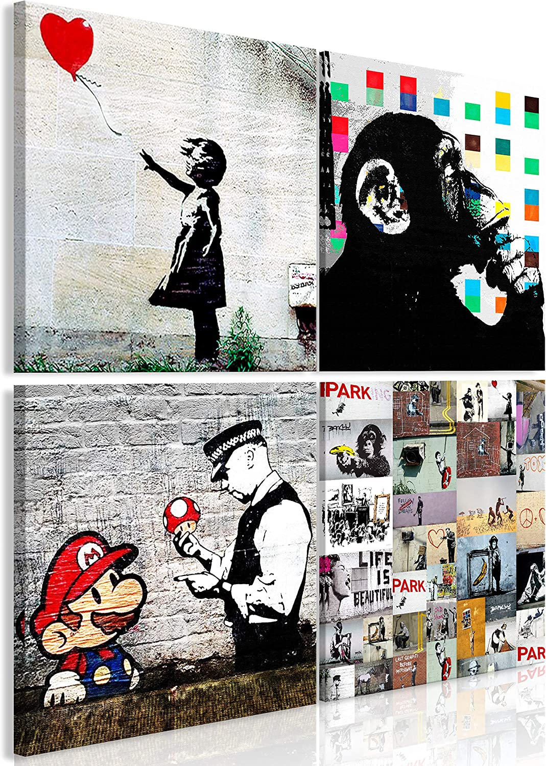 Murando Canvas Wall Art Banksy 90x90 Cm 34 5 X34 5 Non Woven Canvas Prints Image Framed Artwork Painting Picture Photo Home Decoration 4 Pieces Black White Monkey Mario I B 0057 B A Amazon Co Uk Welcome