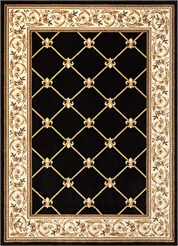 Patrician Trellis Black French European Formal Traditional 8×11 8×10 7 10 x 10 6 Area Rug Easy to Clean Stain Fade Resistant Shed Free Contemporary Floral Thick Soft Plush Living Dining Room Rug