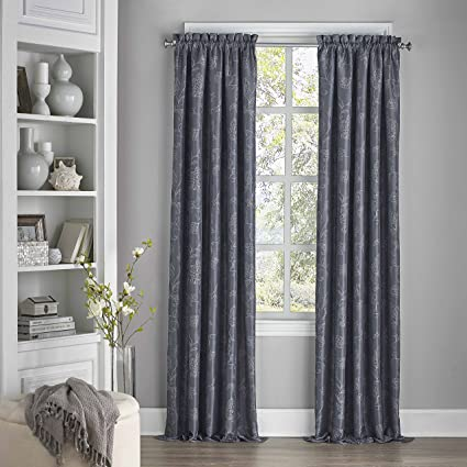Eclipse Tricia Rod Pocket 52-inch By 84-inch Single Blackout Grey Curtains, Drapes & Valances