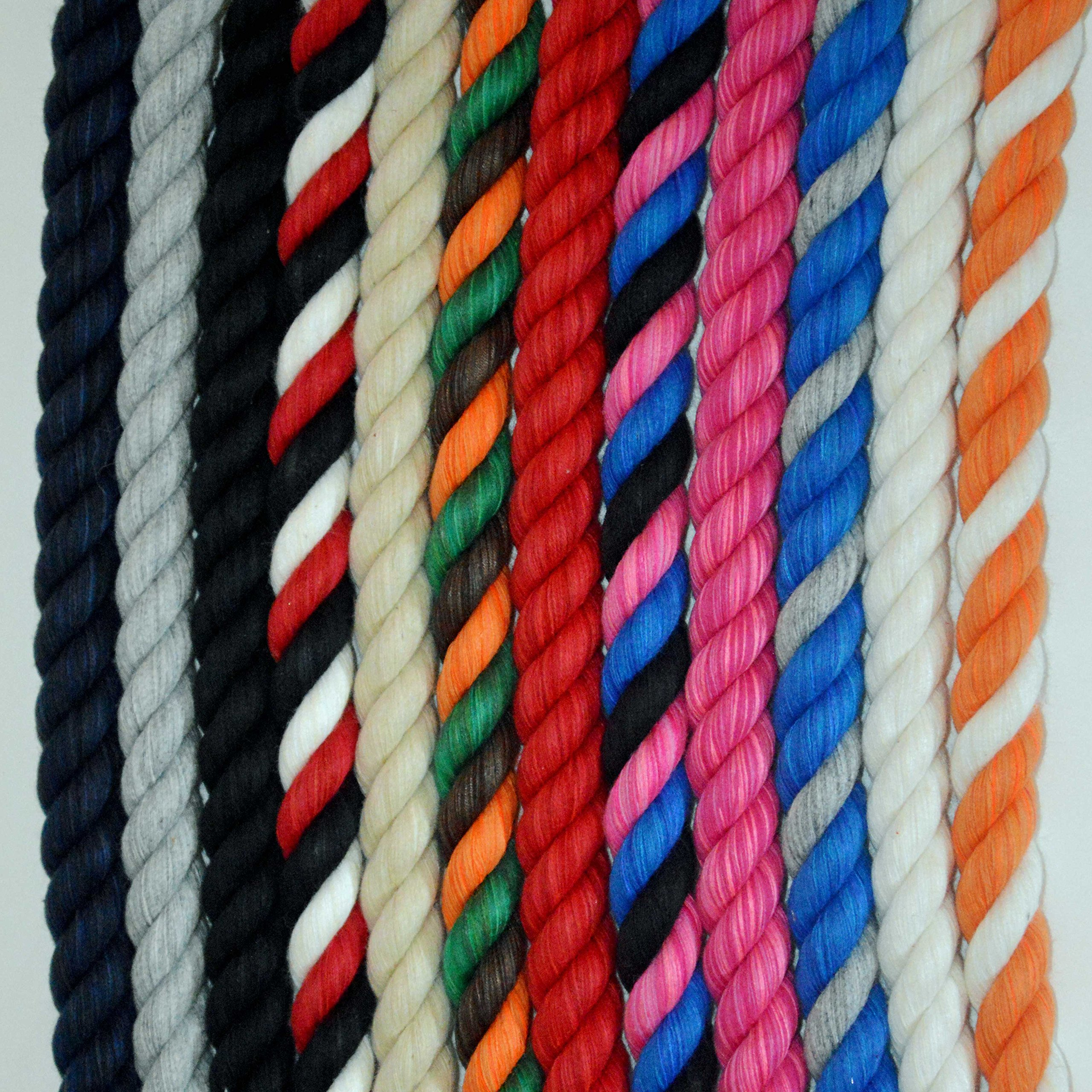 3 Strand Twisted Soft Colored Cotton Rope 1/2'' 25', 50', 100' and 640' Spools (1/2'' x 640 ft., Hot Pink)