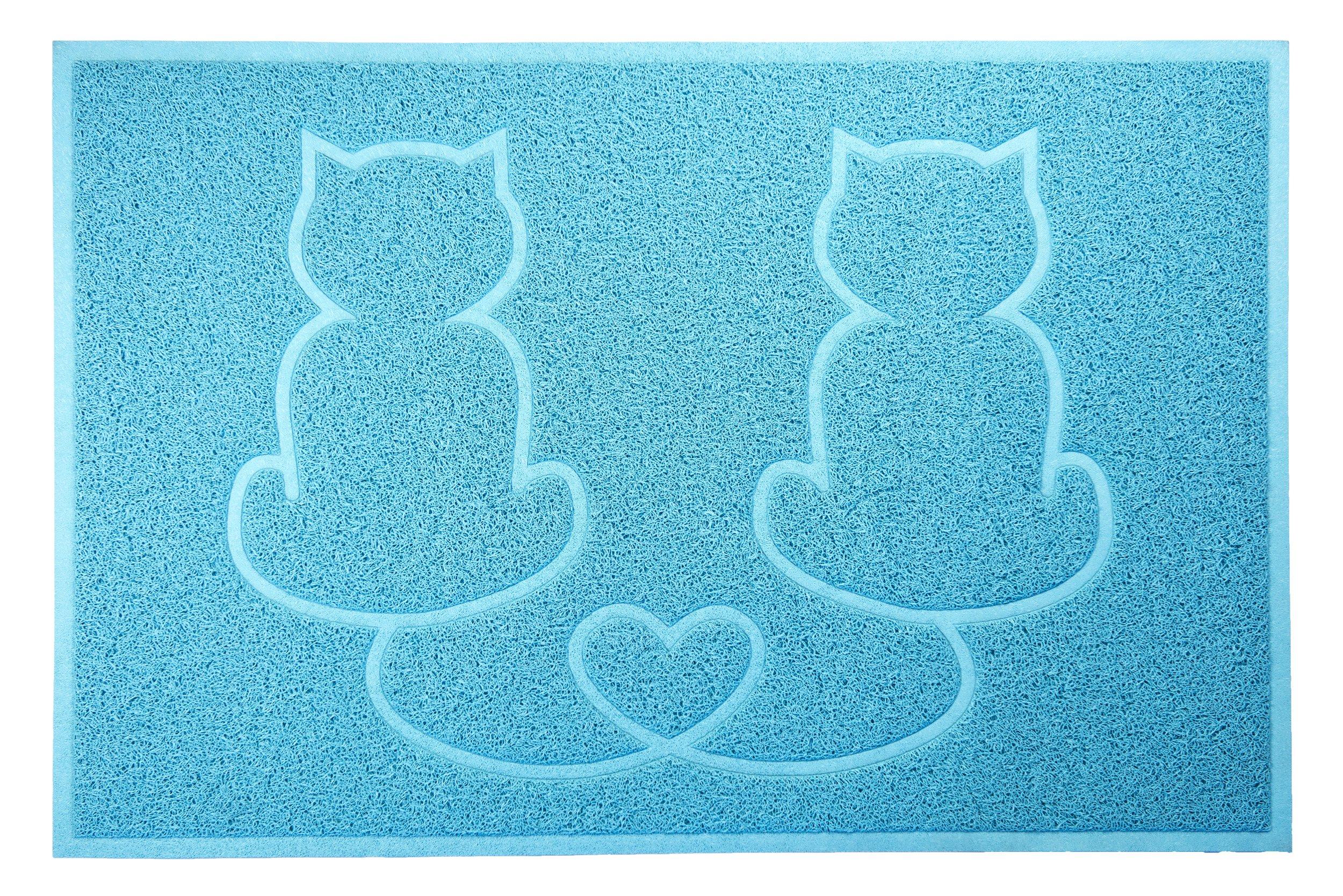 FurHaven Tiger Tough Tidy Paw Litter & Food Mat, Robin's Egg