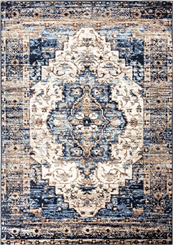 Romance Collection Style 904 Blue Distressed Washed Oriental Area Rug 6 .6 Round 78 inch
