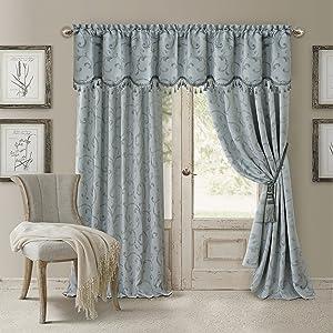 "Elrene Home Fashions 26865901467 Blackout Energy Efficient Room Darkening Rod Pocket Window Curtain Drape Regal Jacquard Woven Panel, 52"" x 84"", Blue, 1"