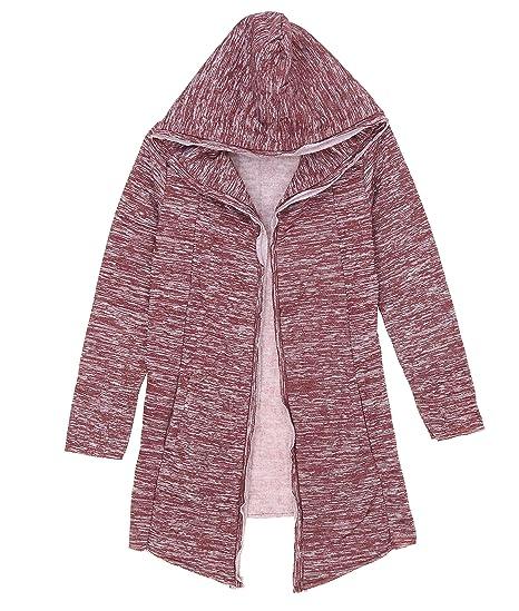 Imperious Men S Fleece Open Cardigan Hooded Sweatshirt Burgundy M At