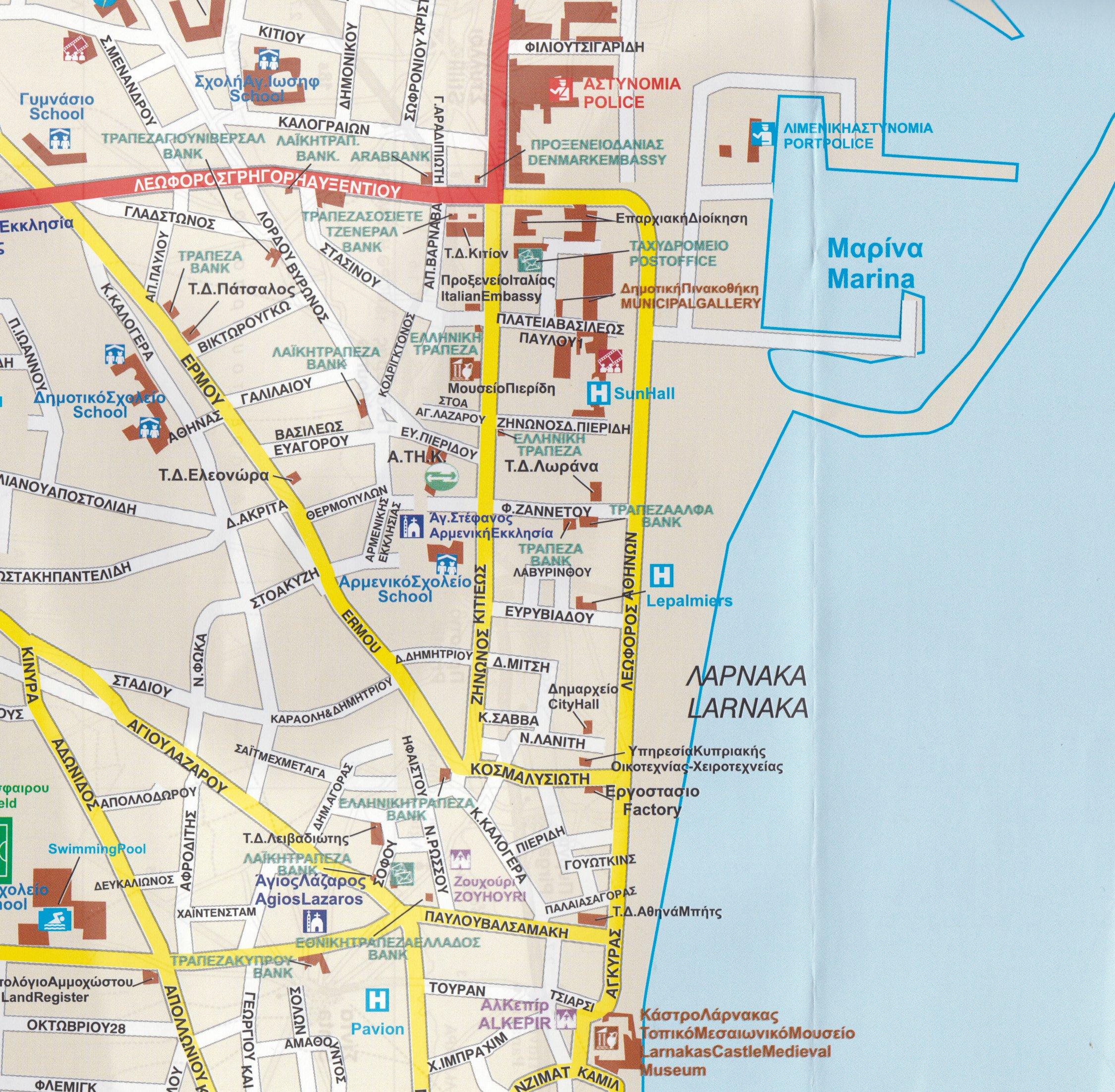 Larnaca Cyprus 17 500 Street Map Region 1100 000 Orama