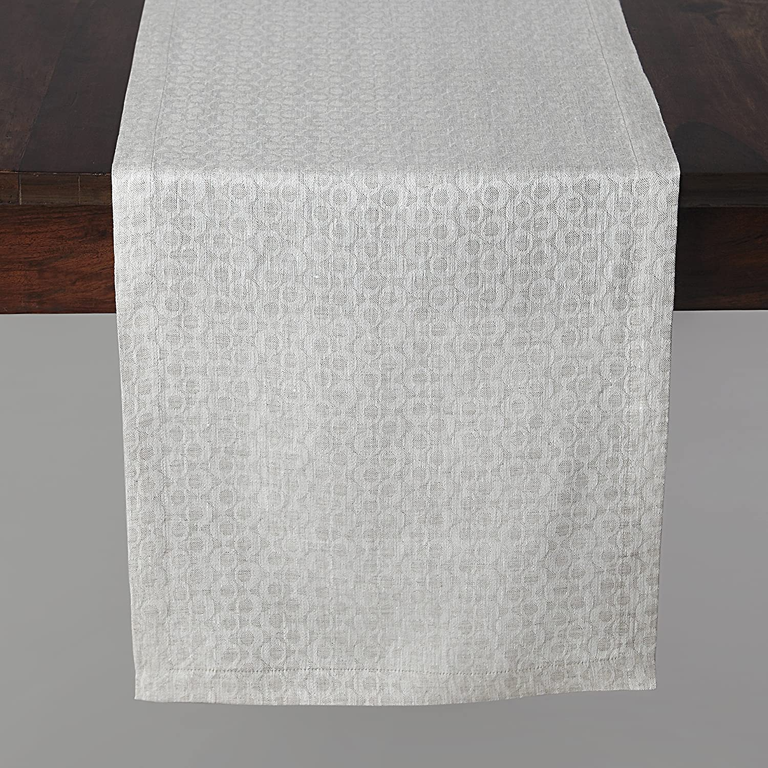 Handmade Natural Linen Jacquard Bruges Table Runner - ChristmasTablescapeDecor.com