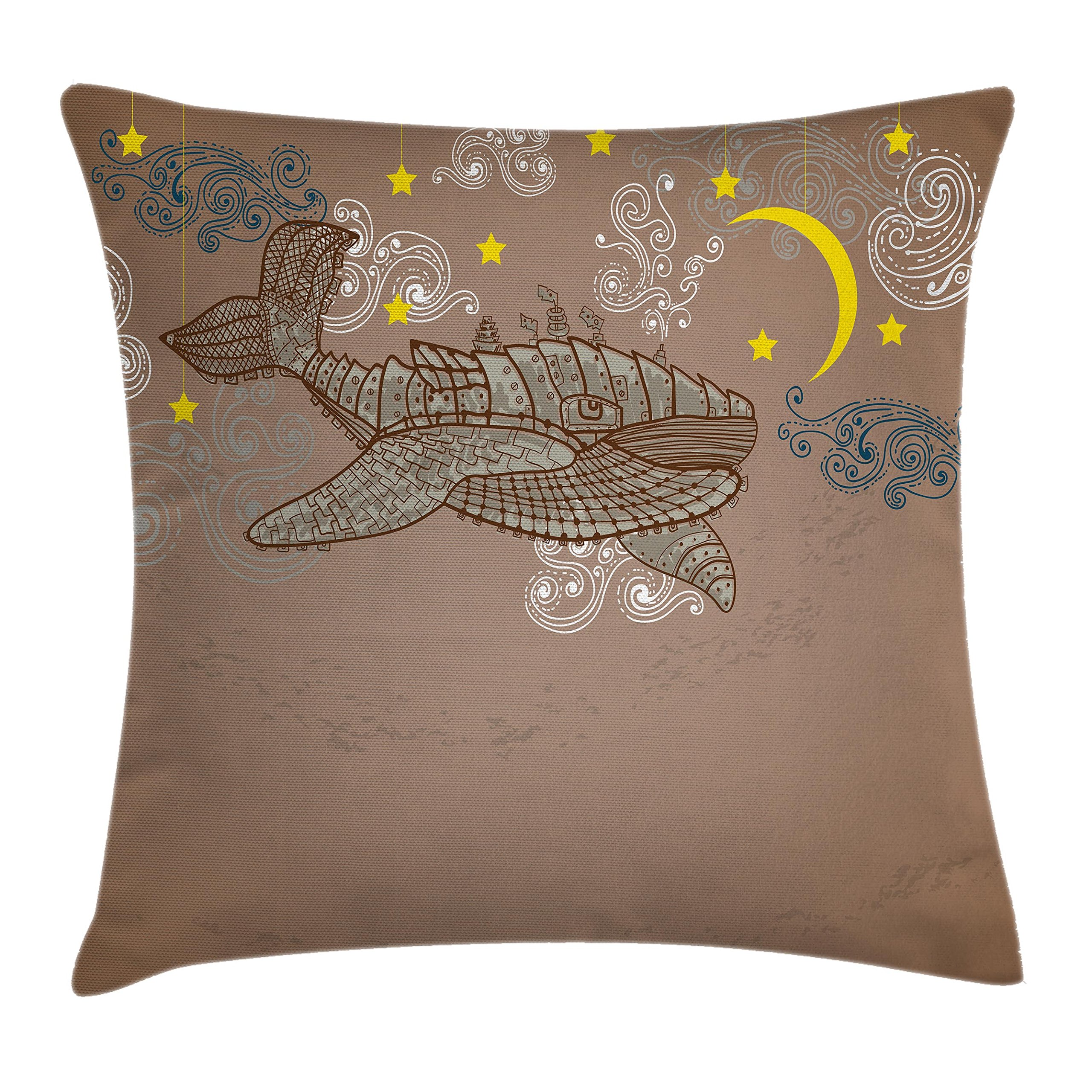 Ambesonne Whale Decor Throw Pillow Cushion Cover, Steampunk Whale Flying on Air with Moons and Stars Artistic Hand Drawing, Decorative Square Accent Pillow Case, 20 X 20 Inches, Brown and White