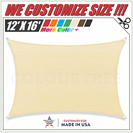 190 GSM Commercial Standard Heavy Duty 3 Years Warranty ColourTree Customized Size 6 x 6 Beige Sun Shade Sail Canopy UV BlockRectangle