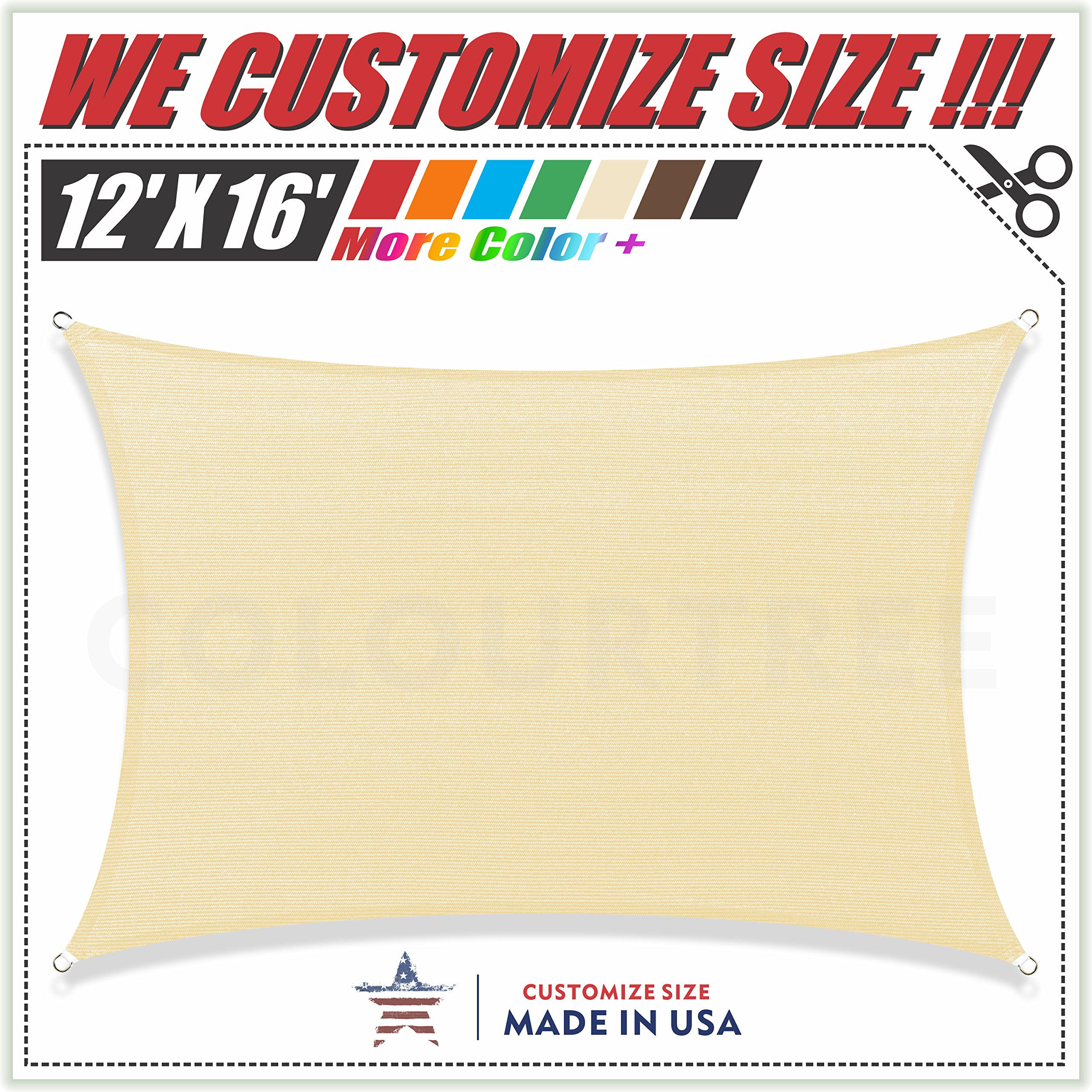 ColourTree 2nd Gen 12' x 16' Beige Sun Shade Sail Canopy Rectangle, Commercial Standard Heavy Duty, We Make Custom Size by ColourTree
