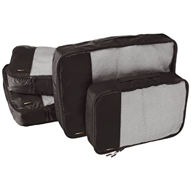 AmazonBasics 4 Piece Packing Travel Organizer Cubes Set - 2 Medium and 2 Large, Black