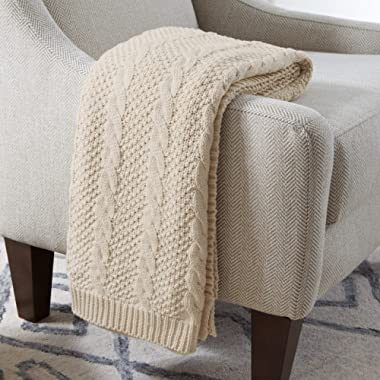 Stone & Beam Transitional Chunky Cable Knit Throw Blanket 100% Cotton, Ivory