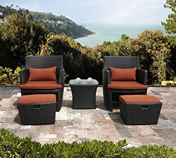 space saving patio furniture.  saving 5piece wicker resin outdoor patio furniture set brown chairs with red  cushions and intended space saving f