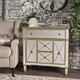 Fellin Gold Finished Mirrored 5 Drawer Cabinet with Faux Wood Frame