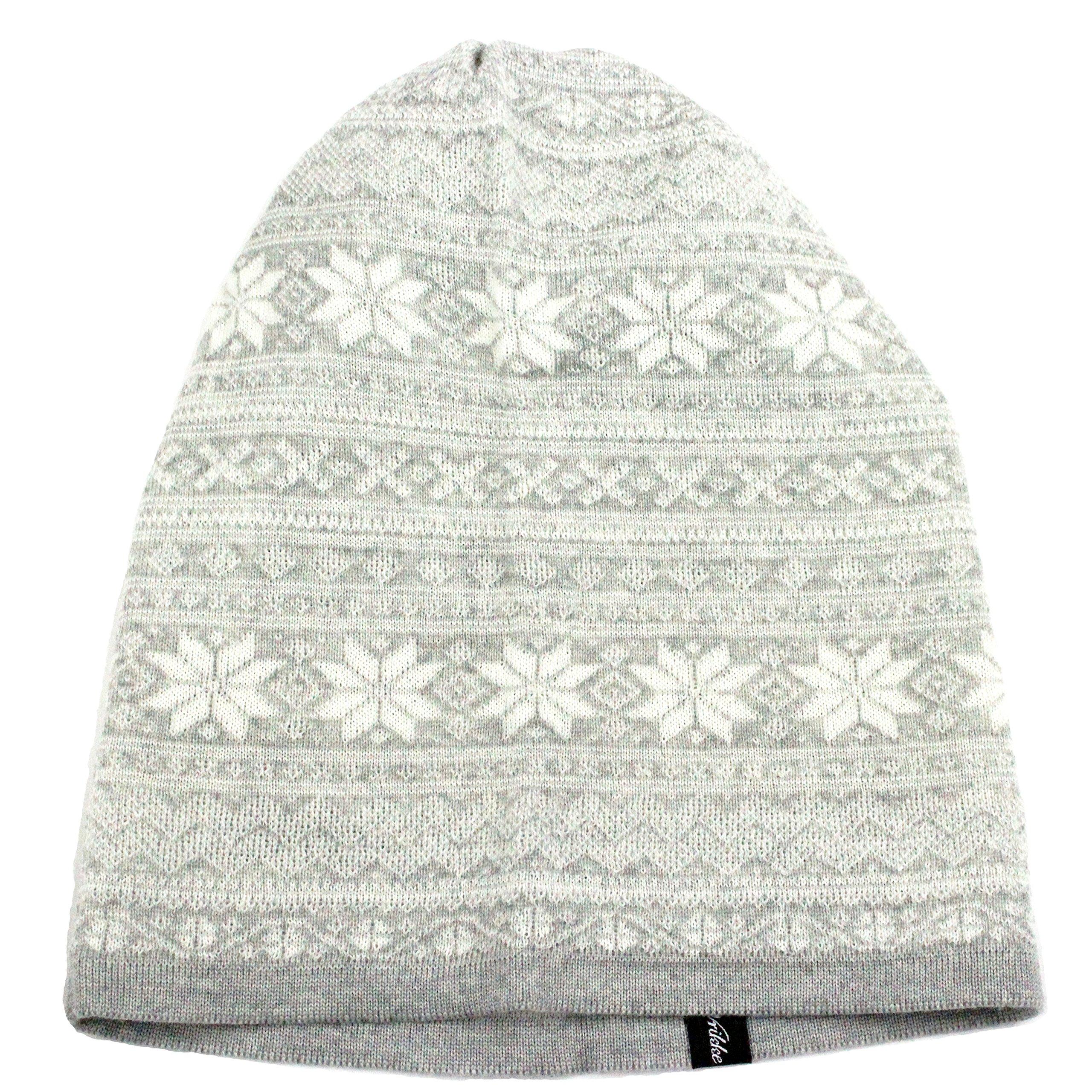 Vrikke Norwegian Womens 100% Merino Wool Knit Beanie Cap (Light Grey)