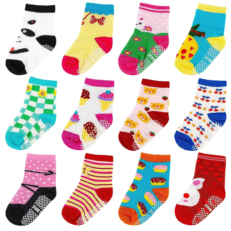 Ateid 12 Paar Baby Socken Antirutsch-Socken mit Gummi-Noppen aus Baumwolle 10-36 Monate