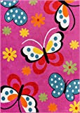 Modern Rug Daisy Butterflies Pink 5' x 7' Accent Area Rug Entry Way Bright Kids Room Kitchn Bedroom Carpet Bathroom Soft Durable Area Rug