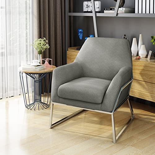 Christopher Knight Home 303943 Zach Modern Grey Fabric Chair with Stainless Steel Frame