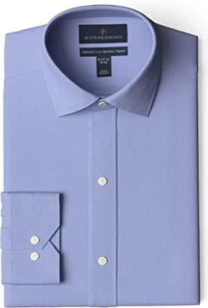 """Amazon Brand - Buttoned Down Men's Tailored Fit Spread Collar Solid Non-Iron Dress Shirt Blue 17.5"""" Neck 35"""" Sleeve"""