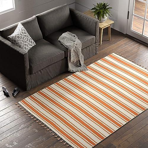 Amazon Brand Stone Beam Los Altos Striped Dhurrie Farmhouse Area Rug, 5 x 7 6 , Orange and Ivory