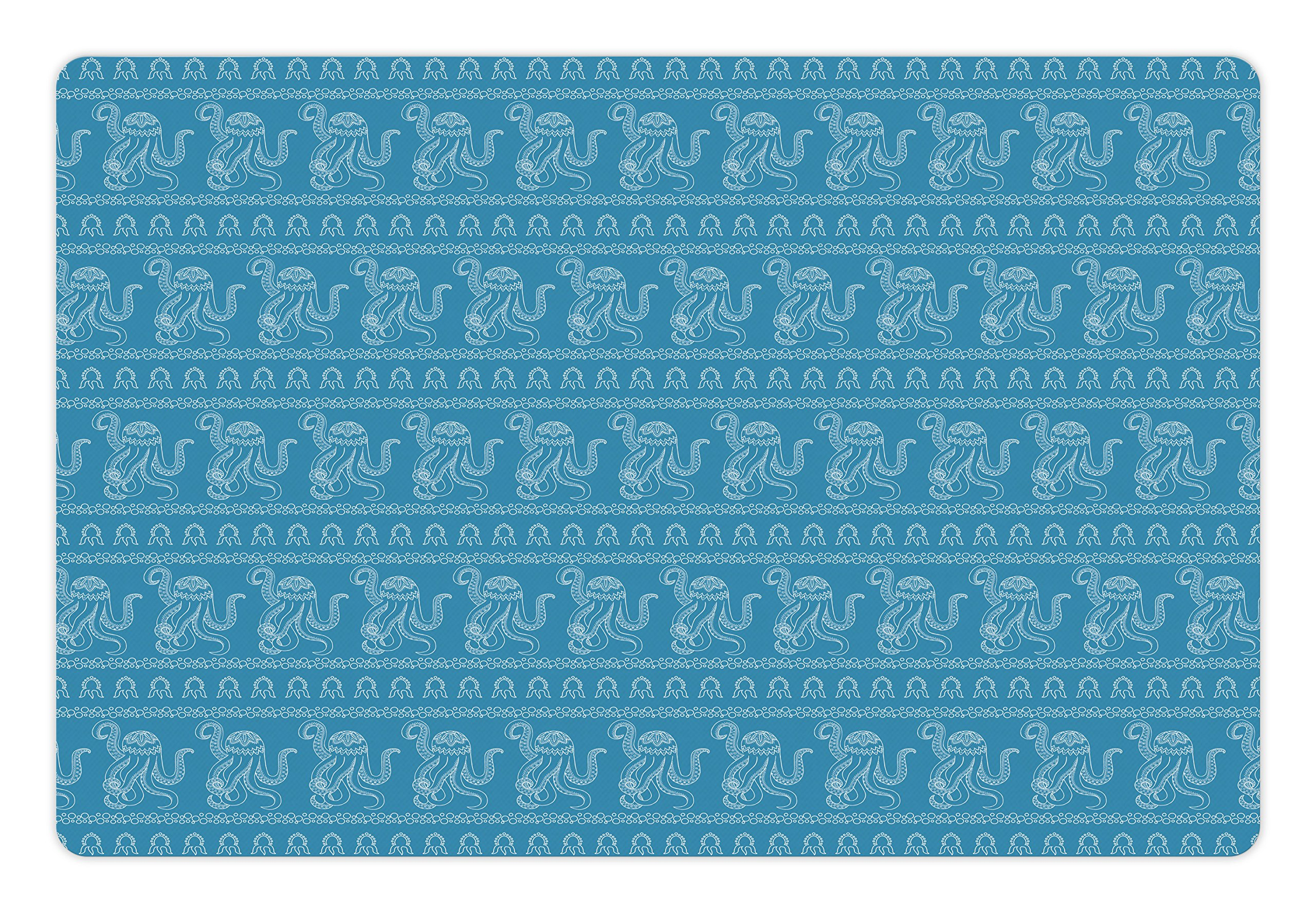 Ambesonne Octopus Pet Mat for Food and Water, Illustration of Underwater Life in the Style of Zentangle Ethnic Animals, Rectangle Non-Slip Rubber Mat for Dogs and Cats, Pale Blue and White