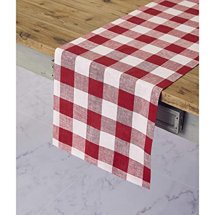 01e074519a3a8 Solino Home 100% Pure Linen Buffalo Check Table Runner – 14 x 72 Inch Red &  White Checks Table Runner Natural Fabric Handcrafted from European Flax