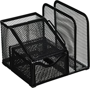 Greenco Mesh Office Supplies Desk Organizer with Note Pad Holder, Black