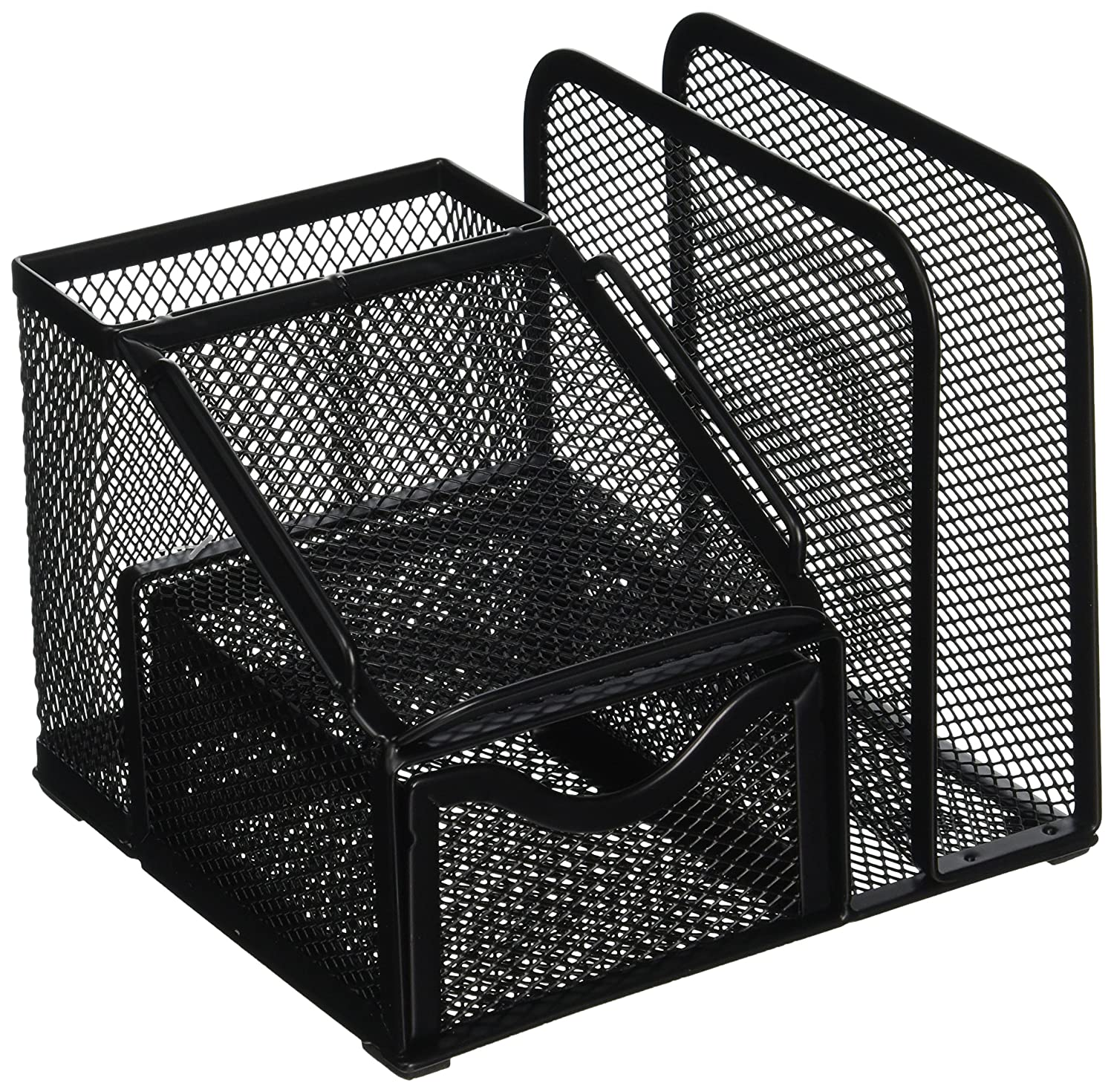 Greenco Mesh Office Supplies Desk Organizer with Note Pad Holder, Black Homeco GRC2524